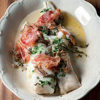 Baked hake with crisp pancetta and anchovies recipe - Northern Living