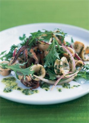 Northern Living - Squid salad with lime, coriander, mint and mizuna - Recipe